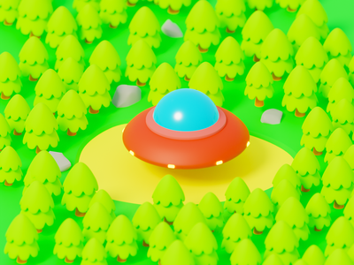 UFO in the forest cartoon stylization ufo forest illustration render isometric art b3d blender 3d