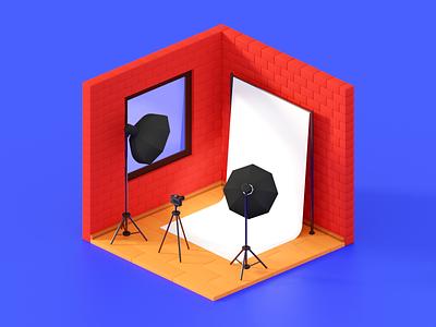 Photo studio photostudio camera studio photo illustration render isometric art b3d lowpoly blender 3d