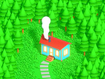 Simply Tiny House forest tinyhouse house tiny illustration render isometric art b3d blender 3d