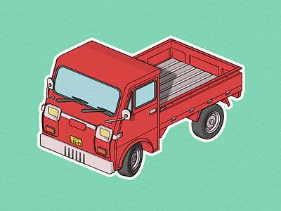 Japanese cargo kei-car greasepencil line lineart automobile vehicle cargo auto keicar japanese japan car illustration design render art b3d blender 3d