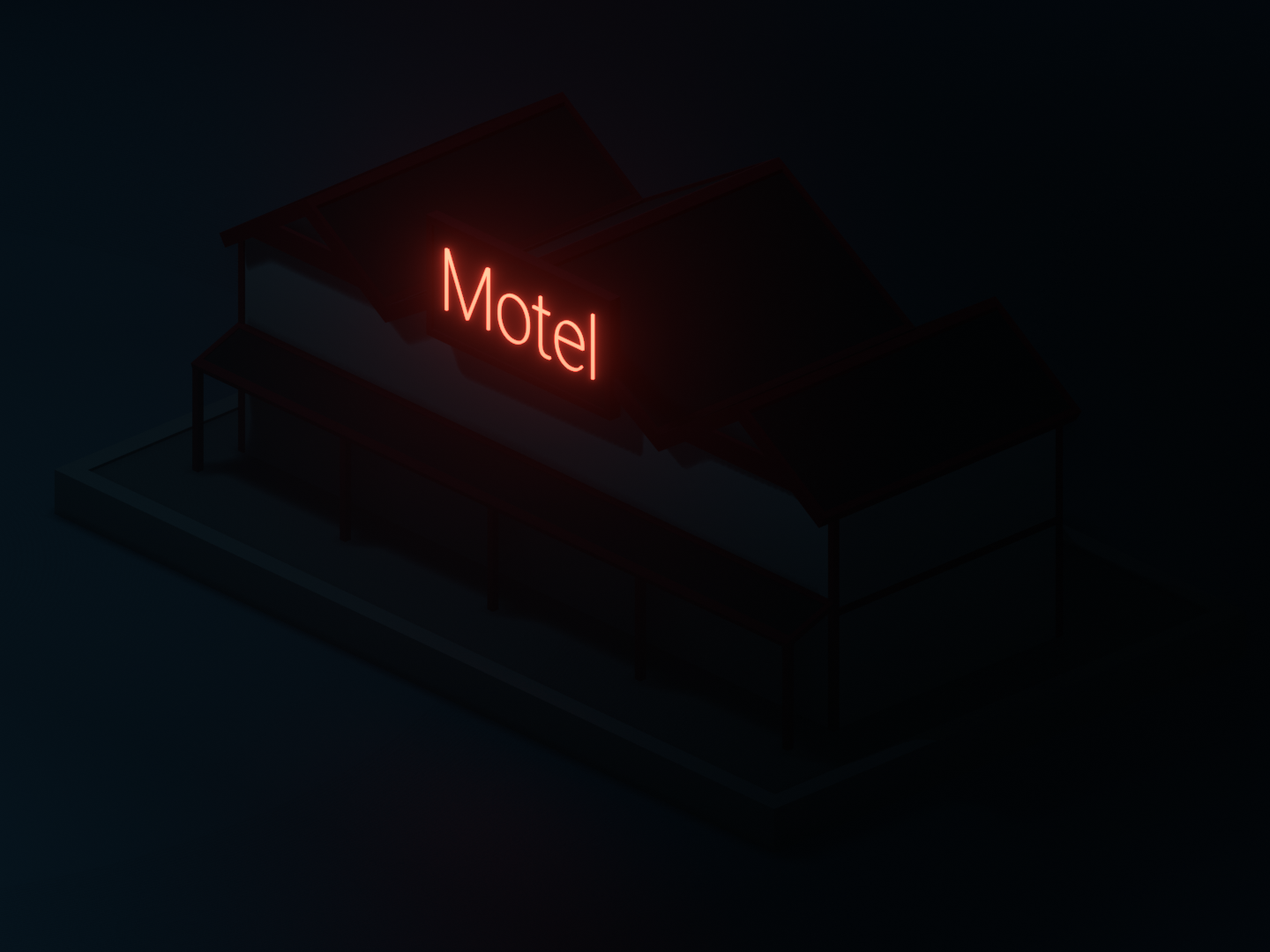 Night lowpoly motel moonlight motel night illumination isometric art isometric art low poly art lowpolyart low poly lowpoly blender3d blender b3d 3d art 3d