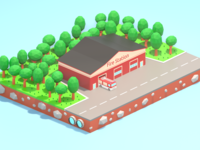 Lowpoly Fire station
