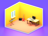 Lowpoly music room