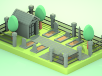 Lowpoly cemetery version 2