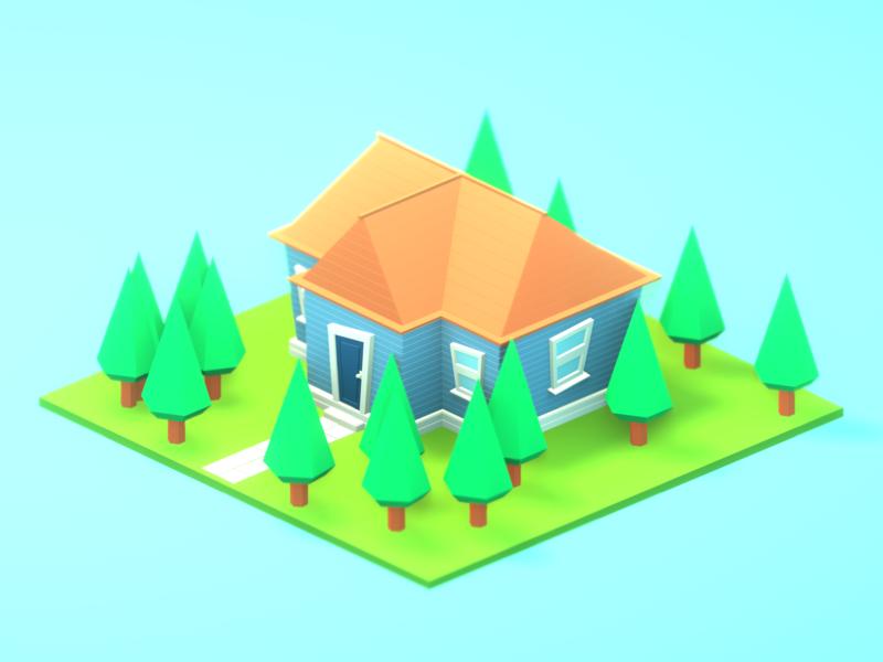 Random house №1 illustration art house building render isometric low poly lowpoly blender3d blender b3d 3d art 3d