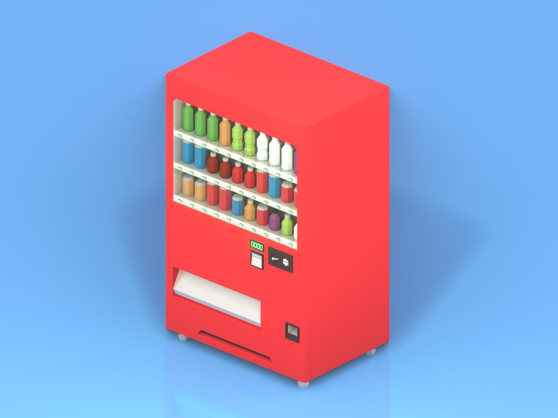 Lowpoly Japanese vending machine vending machine machine japanese japan render isometric art lowpolyart low poly lowpoly blender3d blender b3d 3d art 3d