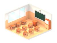 lowpoly japanese school room