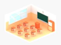 lowpoly japanese school room, Cycles render