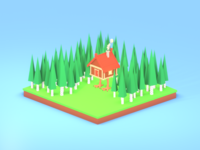 Lowpoly Chicken log house