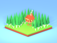 Lowpoly House on Chicken Legs, improved version