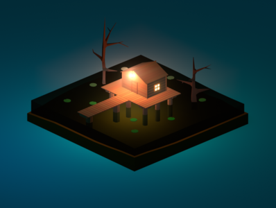 Lowpoly house in the swamp
