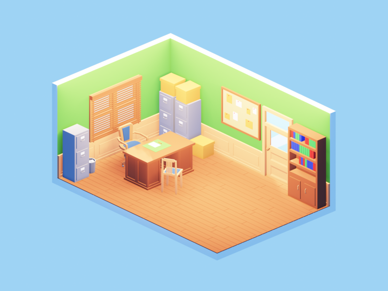 Lowpoly office low poly office building illustration render isometric art b3d lowpoly blender 3d