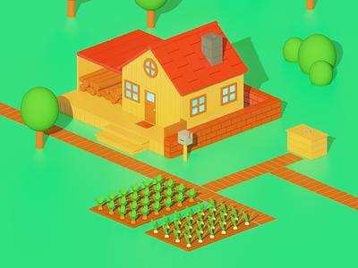 Lowpoly Stardew Valley farm house farm illustration render isometric art lowpoly blender 3d