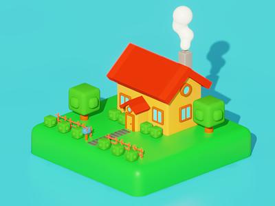 Random lowpoly house 3 house stylization illustration render isometric art lowpoly blender 3d