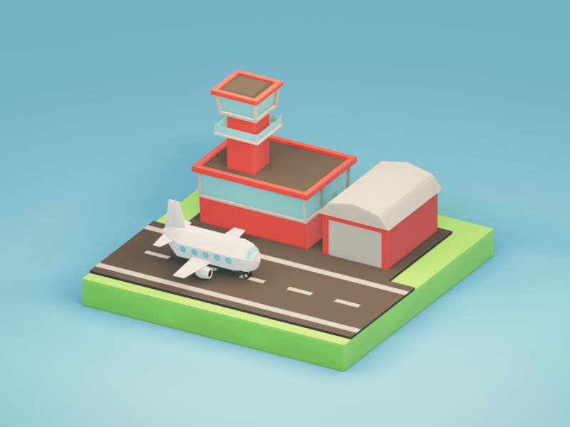 Lowpoly airport. [Creating timelapse video in Description] timelapse airplane airport render isometric art b3d lowpoly blender 3d