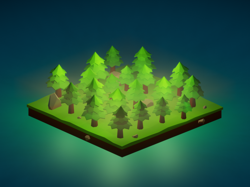 Lowpoly mysterious forest mysterious mystic forest illustration render isometric art b3d lowpoly blender 3d