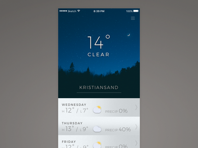 Daily UI #037 - Weather sketchapp sketch daily challenge 037 dailyui forecast temperature app weather