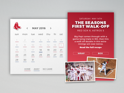 Daily UI #038 - Calendar red sox schedule baseball calendar dailyui 038 challenge daily sketch sketchapp