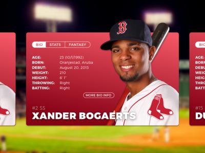 Daily UI #045 - Info Card sketchapp sketch daily challenge 045 dailyui player bogaerts boston red sox baseball info card