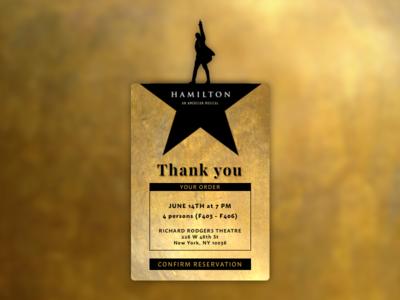 Daily UI #054 - Confirm Reservation sketchapp sketch daily challenge 054 dailyui tickets confirm reservation musical hamilton