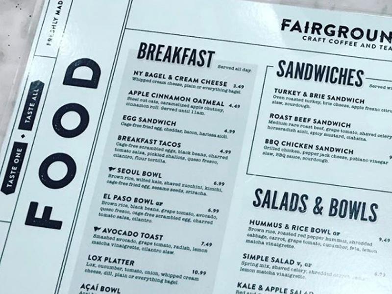 Fairgrounds Menu diner diner menu food fair farm cafe mindfully sourced menu