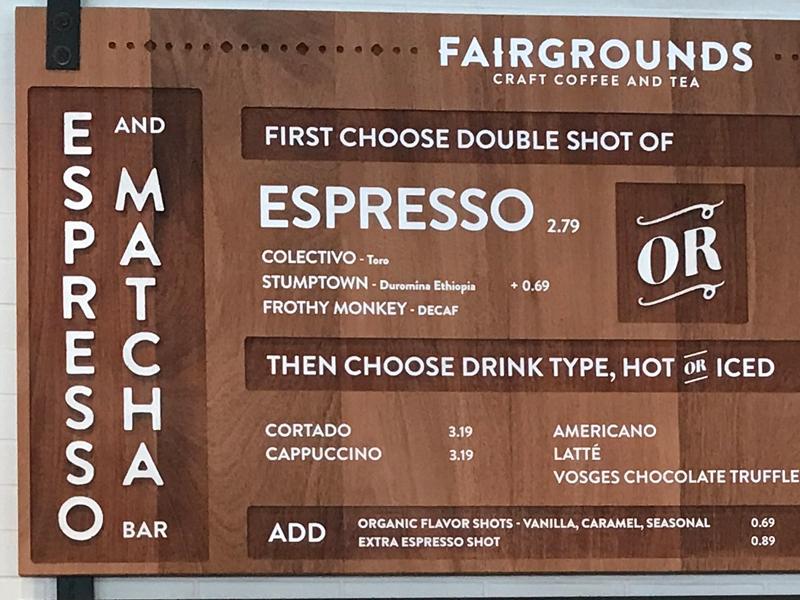 Fairgounds Hanging Menus wood matcha espresso cafe menu system hanging menu menu
