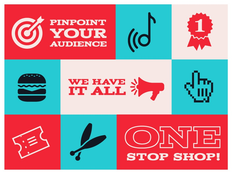 Roadshow Full Circle Branding brand color palette arrows twirls swirls icons circus road