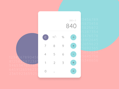 Calculator UI colorful user experience daily challange user interface minimal pastel colours pastel daily calculator dailyui 004 dailyui clean product design ui  ux ui ui design product interface design concept