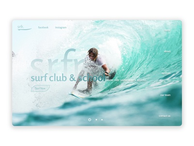 Surf School Concept Page website ui design web ui  ux ui typography product landing  page interface homepage design concept branding