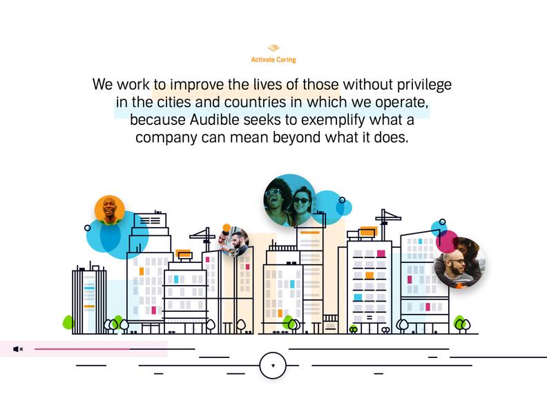 Audible Activate Caring V2 color clean web ui ui design human resources landing illustration