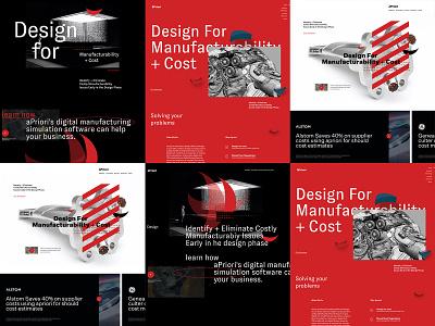 aPriori Concepts landing website art direction concept ui