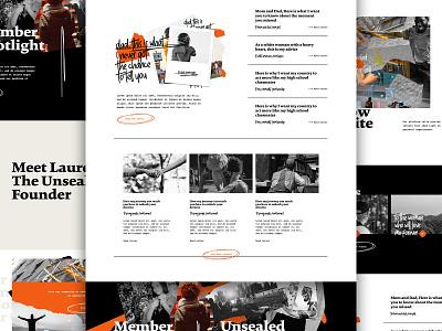 The Unsealed V2 social justice blog type collage landing