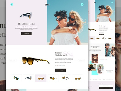 Tens Pitch exploded grid modern muted landing store tens shop sunglasses fashion e-commerce ecommerce elegant seagulls
