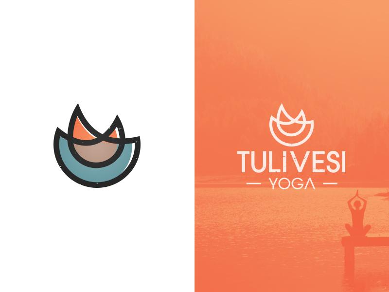 TuliVesi illustrator vector identity fitness grunge elegant seagulls mark water fire logo branding yoga
