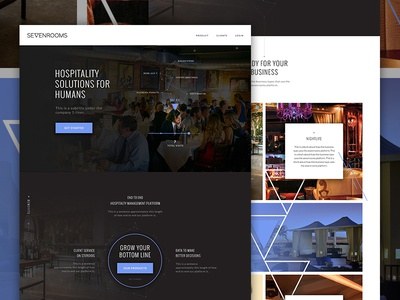 7 Rooms hotel restaurant angle dark app hospitality landing tech node triangle fashion elegant seagulls