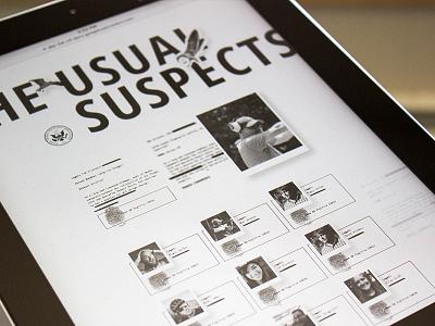The Usual Suspects profile shadow depth finger print agency team grid web ipad elegant seagulls