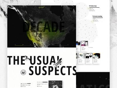 Decade In Design - Live tech bio stats map portfolio data vis thank you team elegant seagulls