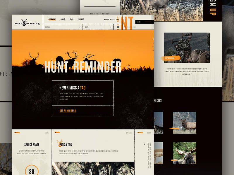 Hunt Reminder Concept  landing line orange nature outdoors hunting tag grunge elegant circles