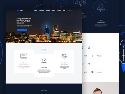 Sembit hexagon clean website icons rockets business software elegant seagulls