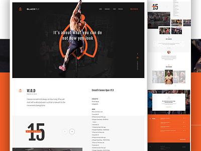 BlackFly CrossFit art direction one page athlete gym pattern sports fitness landing crossfit elegant seagulls