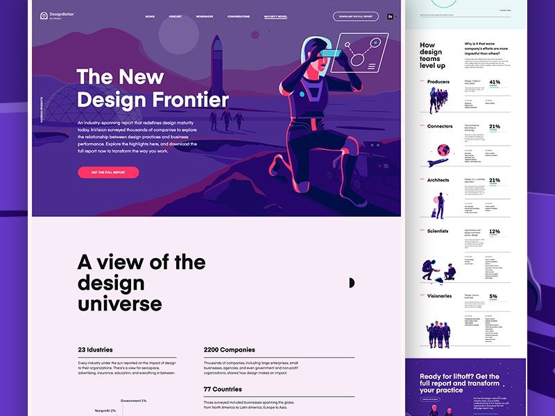 InVision - The New Design Frontier ui deisgn whitespace clean graphs animation color illustration report landing page