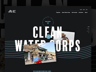 Clean Water Corps dark landing ux veteran ui web non profit nonprofit