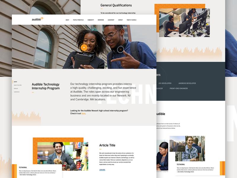 Audible Internship Program - Live careers corporate web ux ui landingpage jobs internship