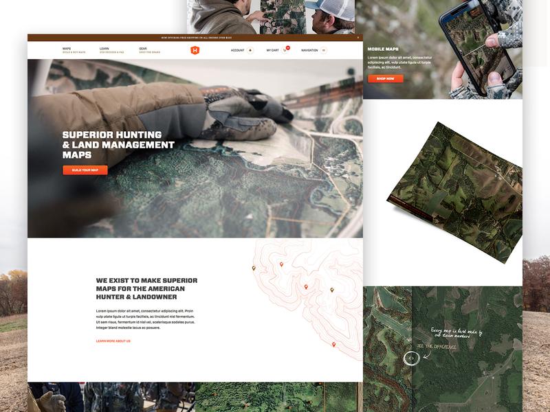 Hunterra Live clean outdoors e-commerce ecommerce web design ux ui maps hunting