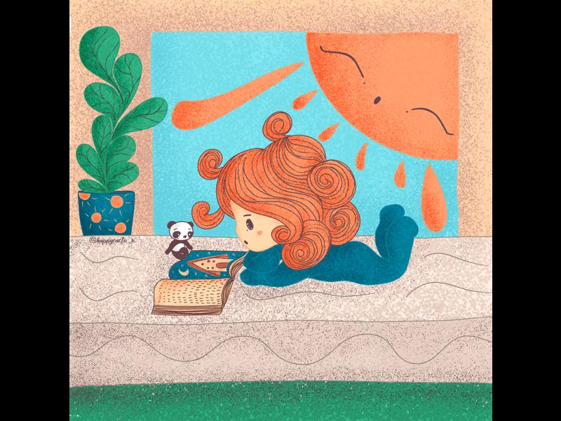 Reading hair illustration girl cute characterdesign