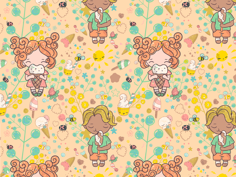 Summer time pattern sweet tooth sweets ice cream repeat seamless pattern vector handdrawn enjoy summer boy girl illustration characterdesign cute