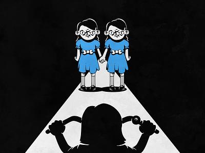 Twins stephen king the shining twins creepy vectorart monochrome characters vector illustration