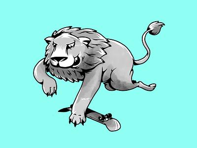 Skate wild. Lion. skateboard wild lion skate skateboarding humor monochrome characters illustration