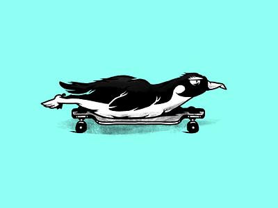 Skate wild. Penguin. skate skateboarding longboarding longboard penguin animals bw monochrome characters illustration