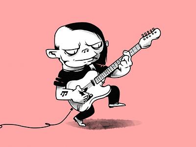 Rock'n'Troll! rock music troll guitar monochrome characters illustration